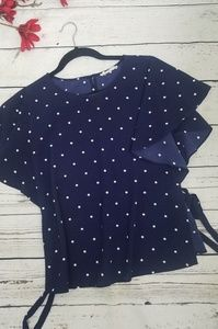 Navy Blouse with White Polka Dots M